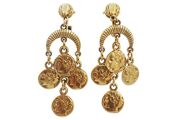 1970s Trifari Coin Earrings