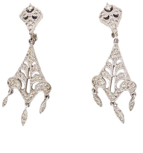 1960s Polcini Rhodium Plated Rhinestone Chandelier Earrings
