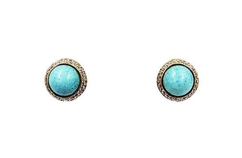 1950s Nettie Rosenstein Faux-Turquoise Cabochon Earrings