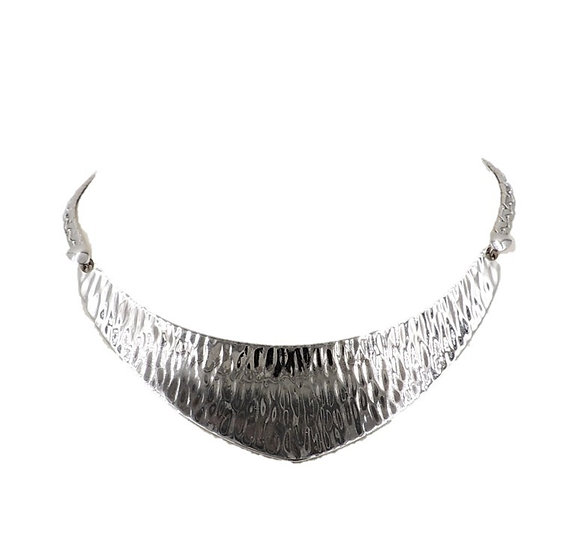 Napier Rhodium Plate Textured Bib Necklace, c 1976
