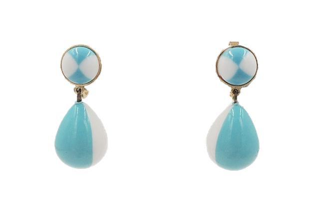 Early 1950s Trifari Blue & White Drop Earrings