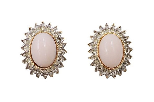 Polcini Faux-Coral & Clear Rhinestone Clip Earrings