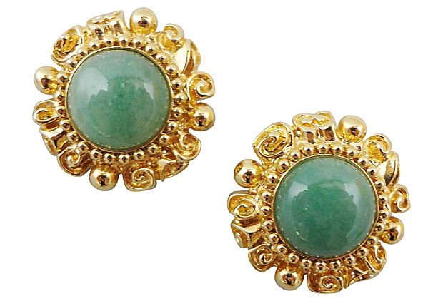 1980s St John Faux-Jade Earrings