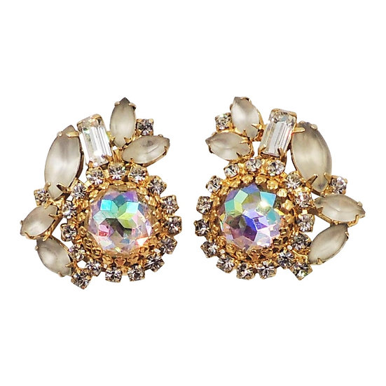 1960s Hobe Aurora Borealis & Frosted Glass Earrings