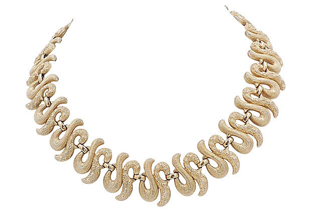 Monet Textured Link Necklace
