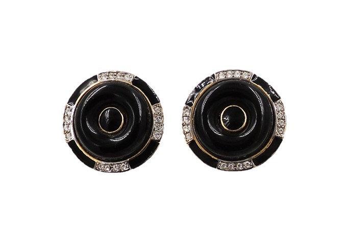 1980s Kenneth Lane Deco Style Black Earrings