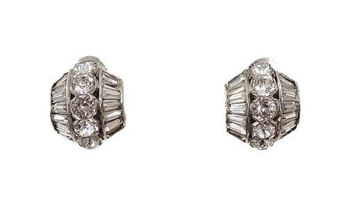 Signed Mazer Rhodium Plated Rhinestone Clip Earrings
