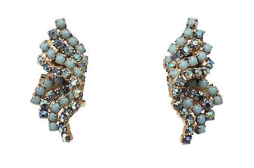 Alice Caviness Cabochon Faux-Turquoise Blue Aurora Borealis Clip Earrings