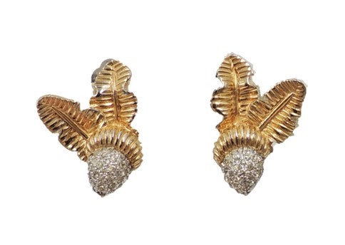 1960s Jomaz Goldtone Pave Rhinestone Acorn Clip Earrings