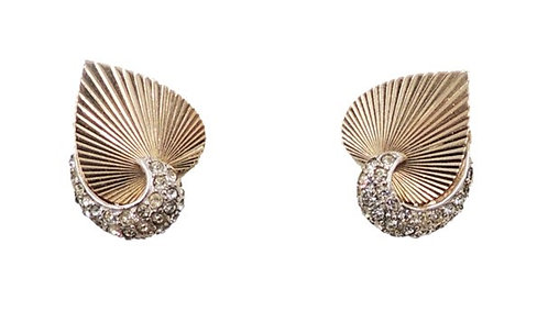 1950s Boucher Goldtone & Pave Rhinestone Heart Clip Back Earrings