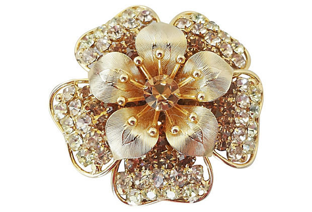 1950s Napier Faux-Topaz & Citrine Flower Pin