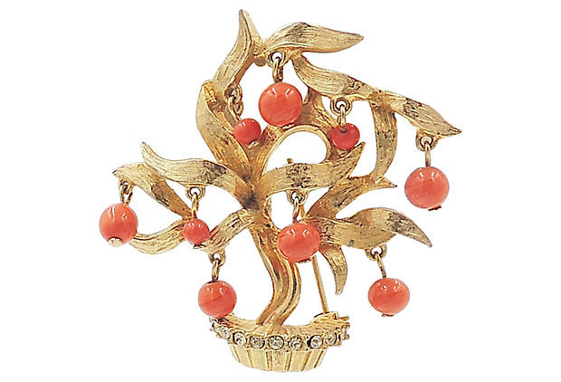 1960s Pauline Rader Beaded Tree Pin