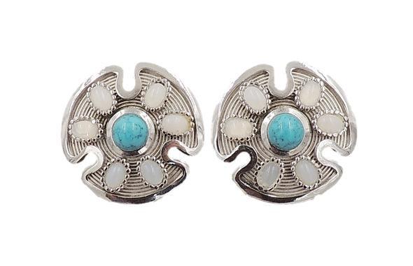 1970s Trifari Silvertone Cabochon Rhinestone Earrings