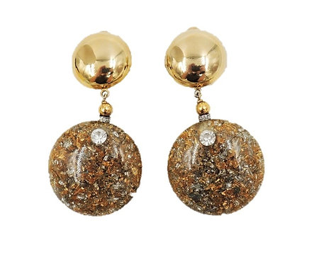 1980s Pellini Italy Goldtone & Confetti Drop Clip Earrings