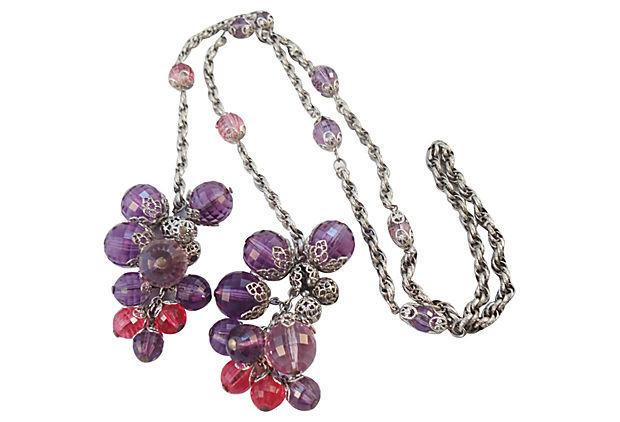 1960s Napier Beaded Lariat Necklace
