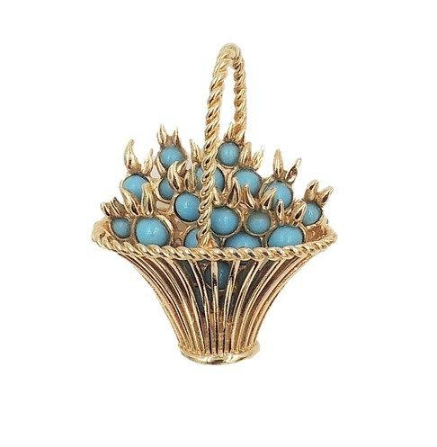 1960s Boucher Faux-Turquoise Rhinestone Basket Pin