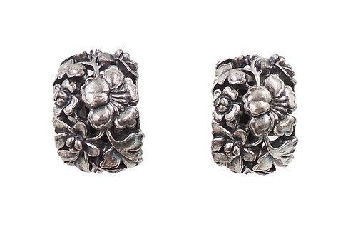 1970s Napier Silvertone Floral Half Hoop Earrings