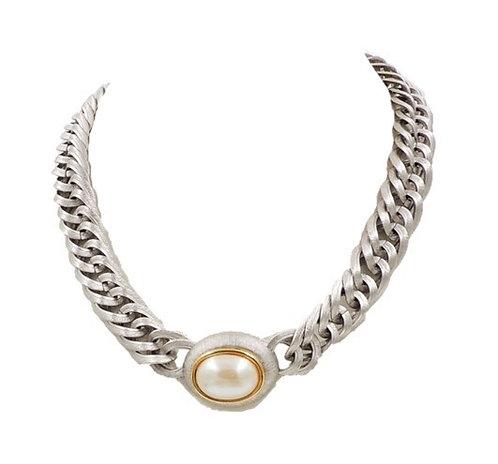 1980s Monet Silvertone Faux-Pearl Necklace