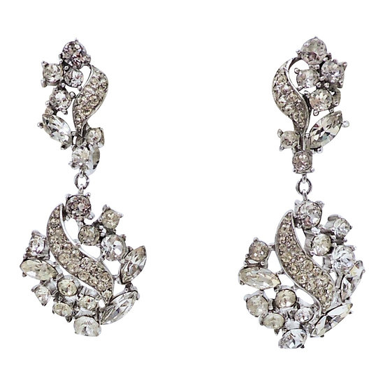 Trifari Rhodium Plated Rhinestone Pendant Earrings, 1968 Ad Piece