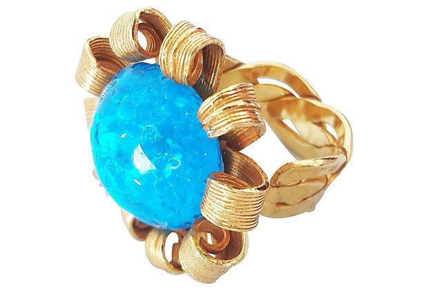 1980s Blue Cabochon Rhinestone Adjustable Ring