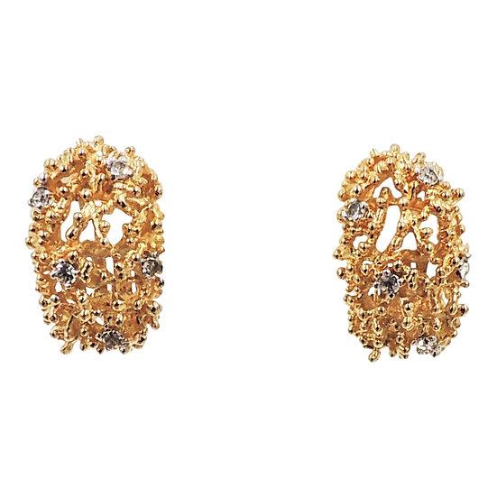 1960s Panetta Modernist Goldtone & Clear Rhinestone Half Hoop Earrings