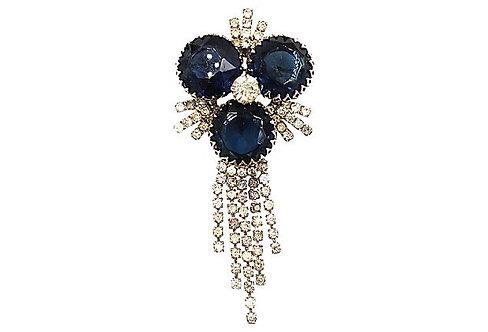 1960s Faux-Sapphire Dangle Brooch