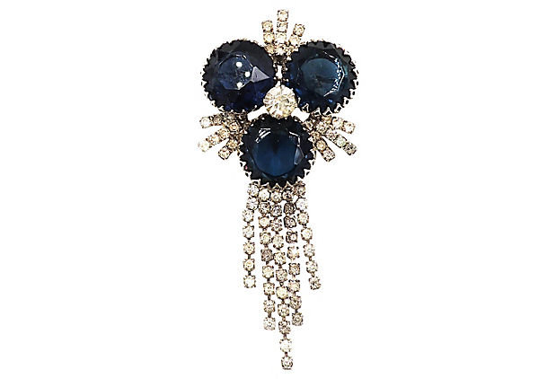 1960s Faux-Sapphire Dangle Brooch