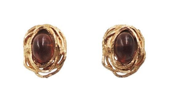 1970s Napier Book Piece Cabochon Faux-Topaz Earrings