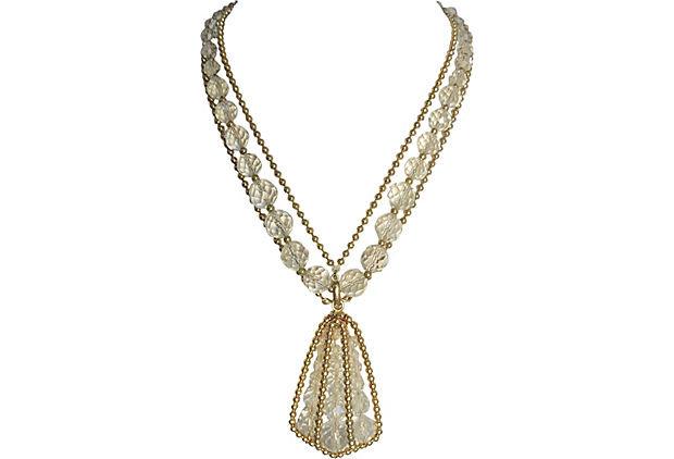 1950s Napier Glass Bead Pendant Necklace