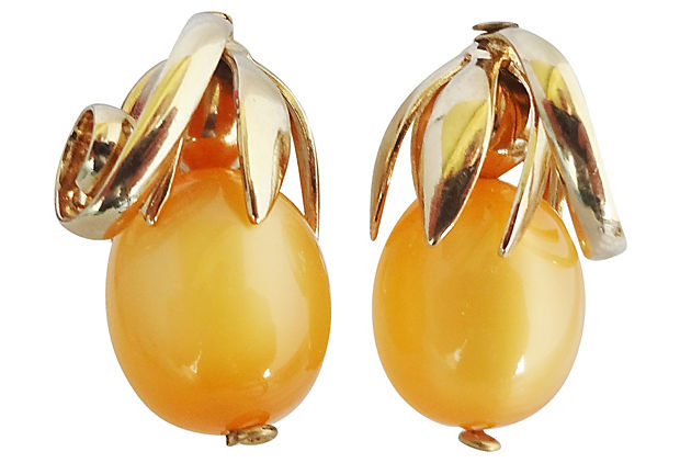 Napier Cumquat Earrings 1955