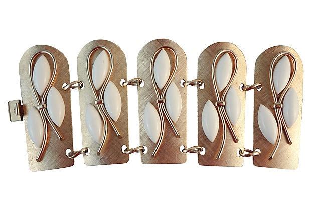 1950s Napier Book Piece Wide Cuff Bracelet
