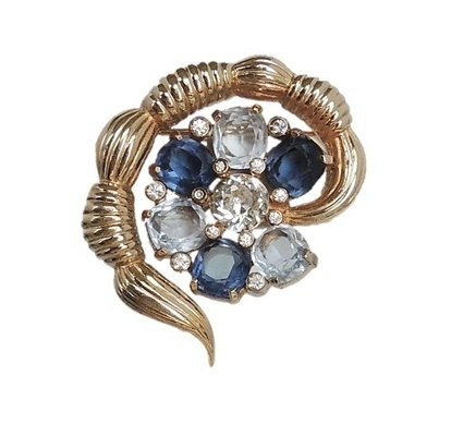 1960s Jomaz Faux-Sapphire & Aquamarine Rhinestone Pin