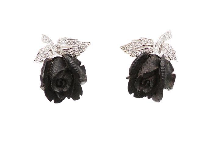 Early 1960s Boucher Rhodium Plated Ebony & Rhinestone Rose Earrings