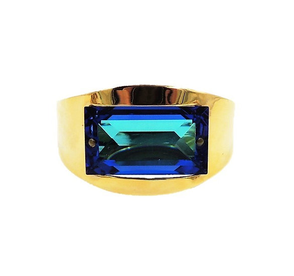 1970s Bijoux Cascio Italy Blue Rhinestone Cuff Bracelet
