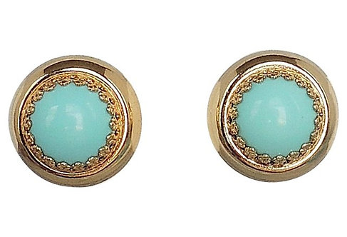1950s Napier Reversible Faux-Turquoise Earrings