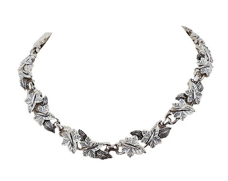 Late 1950s Boucher Rhodium Plate White Leaves Necklace
