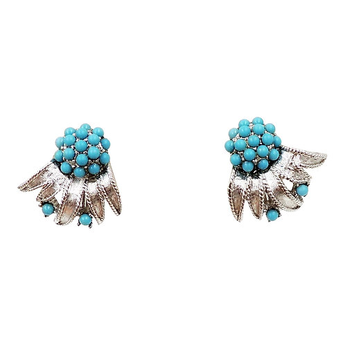 1960s Boucher Rhodium Plated Cabochon Faux-Turquoise Earrings