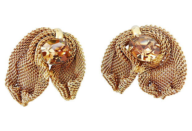 1950s Napier Faux-Topaz Earrings
