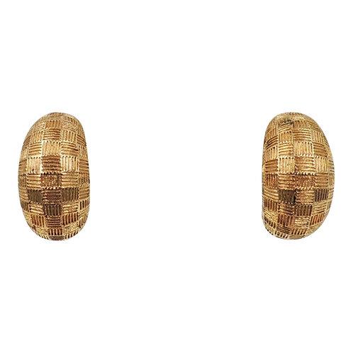 1980s Grosse Goldtone Harlequin Design Half Hoop Earrings