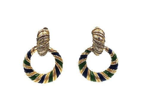 1960s Jomaz Interchangeable Enamel Hoop Earrings