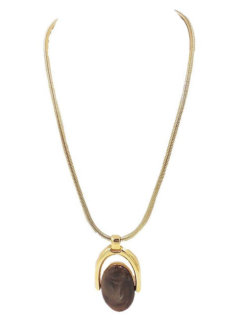 1970s Trifari Reversible Enamel Pendant Necklace