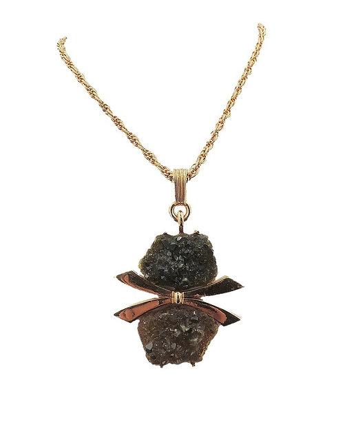 "1970s Jomaz ""Rough"" Rhinestone Pendant Necklace"