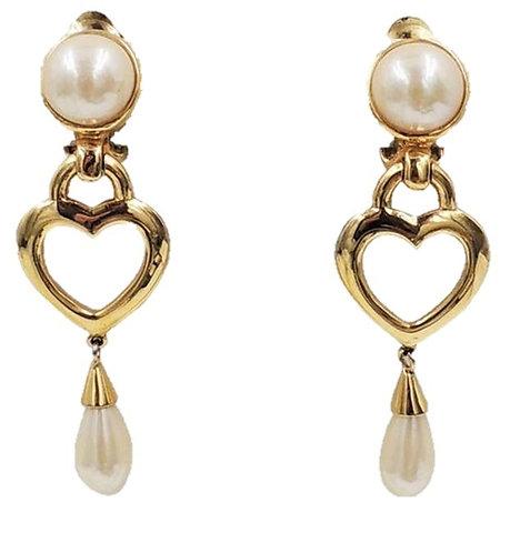 Courrèges Goldtone & Faux-Mabe Pearl Heart Dangle Earrings