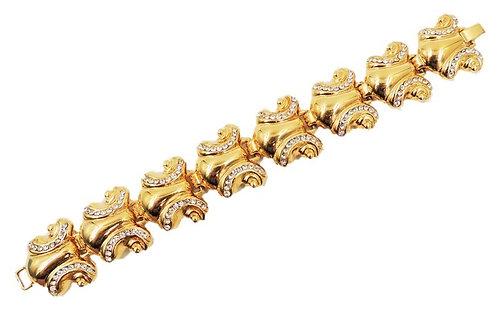 1980s Bijoux Cascio Italy Goldtone & Rhinestone Bracelet