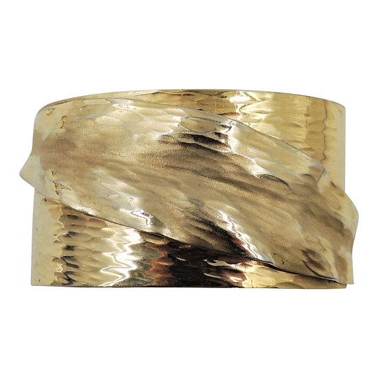 Napier Book Piece Hammered Goldtone Leaf Cuff Bracelet, 1981
