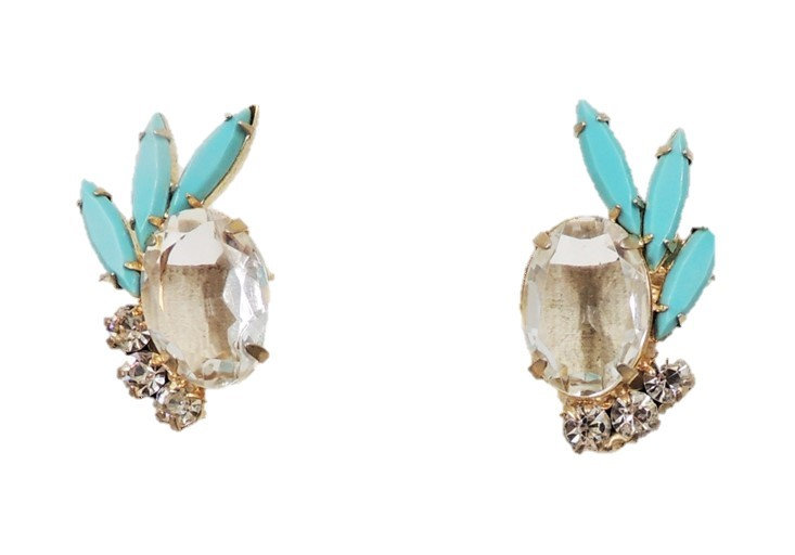 1960s Delizza & Elster Faux-Turquoise & Clear Rhinestone Earrings
