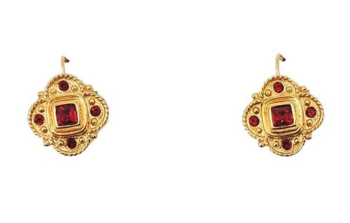 c 1990 Napier Goldtone Faux-Garnet Pierced Earrings