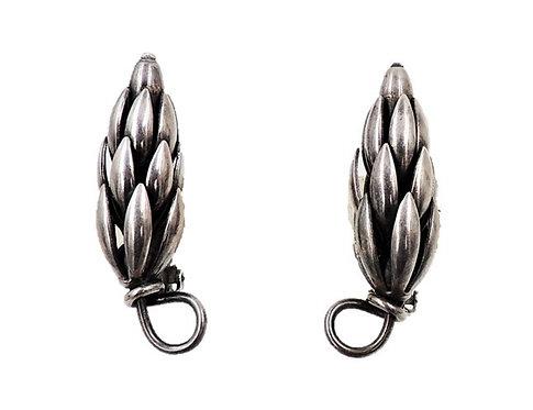 1950s Napier Silvertone Wheat Sheaf Earrings
