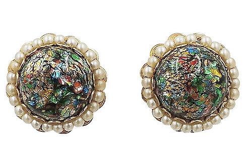1960s Napier Foiled Art Glass Cabochon Earrings