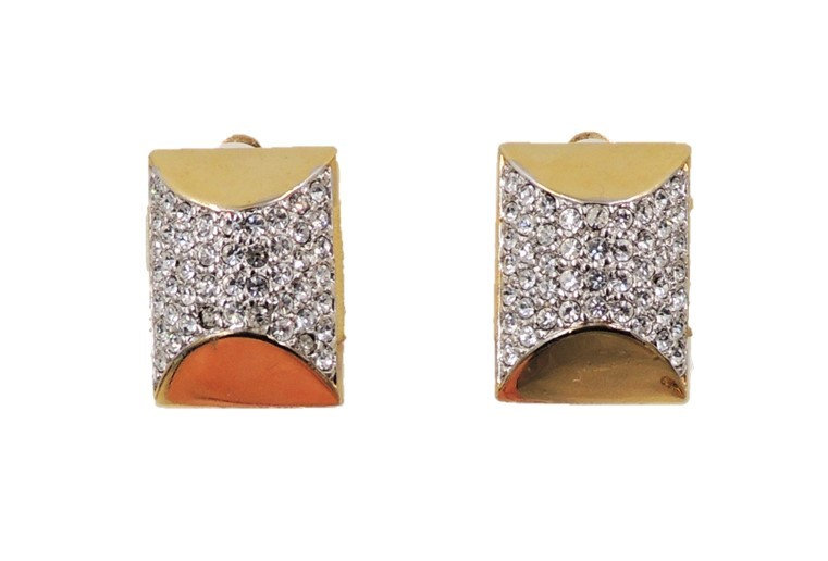 1980s Courreges Paris Goldtone Pave Rhinestone Earrings